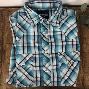 Vintage Wrangler Men's Western Shirt Small Blue